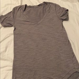 Lululemon grey V neck T shirt